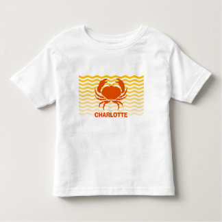 Fun orange crab on the sandy seashore shirt