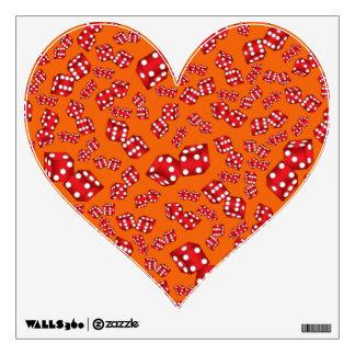 Fun orange dice pattern wall sticker