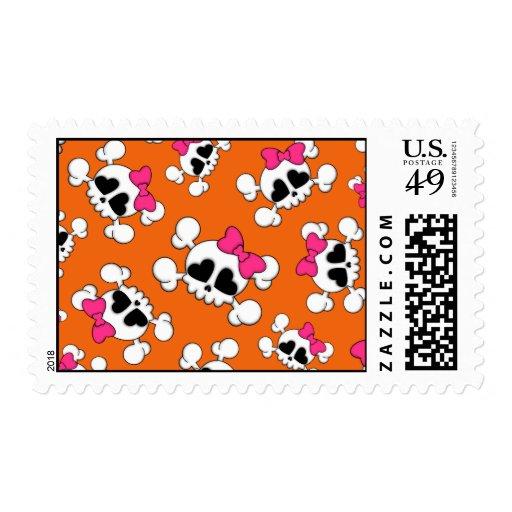 Fun orange skulls and bows pattern postage stamps