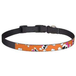 Fun orange skulls and bows pattern pet collar