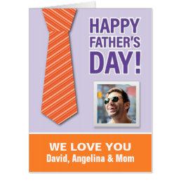Fun Orange Tie Happy Father's Day Photo Card