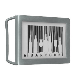 Fun original © black and white bar code (barcode), rectangular belt buckle
