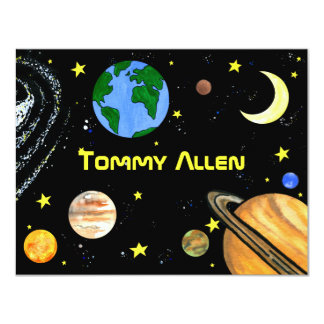 Fun Outer Space Note Card Personalized Announcements