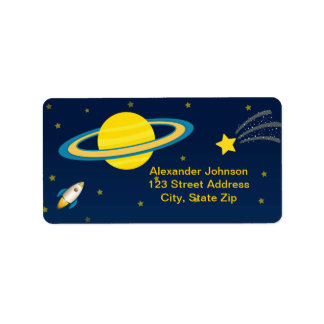 Fun Outer Space Rocket Birthday Address Label