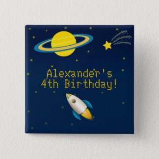 Fun Outer Space Rocket Birthday Button