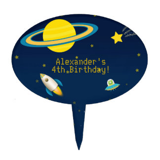 Fun Outer Space Rocket Birthday Cake Topper