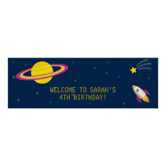Fun Outer Space Rocket Birthday Party Banner Poster