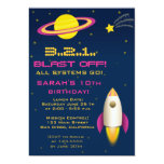 """Fun Outer Space Rocket Birthday Party Invitation 5"""" X 7"""" Invitation Card"""