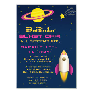 Fun Outer Space Rocket Birthday Party Invitation Personalized Invitation