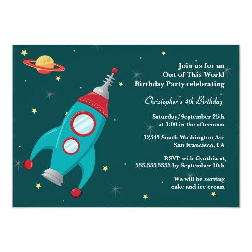 Fun outer space rocket birthday party invitation zazzle for Space themed stationery