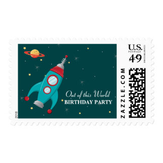 Fun outer space rocket birthday party stamps