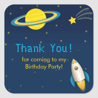 Fun Outer Space Rocket  Birthday Party Sticker