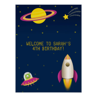 Fun Outer Space Rocket Birthday Poster
