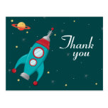 Fun outer space rocket birthday thank you postcard