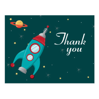 Fun outer space rocket birthday thank you postcard
