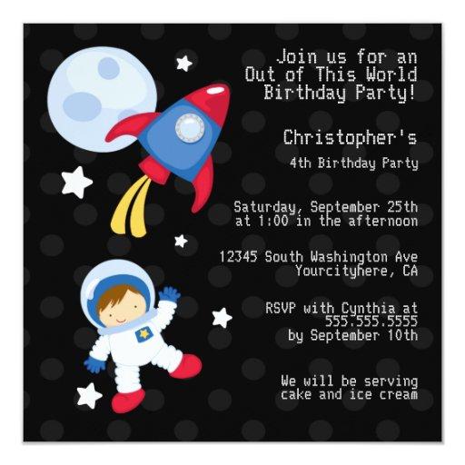 "Fun outerspace astronaut birthday party invitation 5.25"" square invitation card"