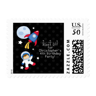 Fun outerspace astronaut birthday party stamps