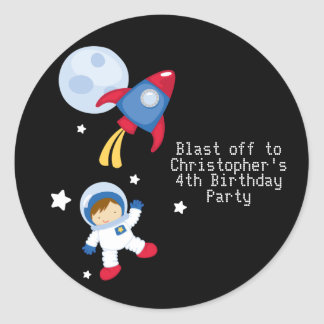 Fun outerspace astronaut birthday party stickers