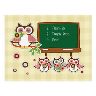 Fun Owl Design Teacher Appreciation Postcards