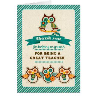 Fun Owl Design Teacher Appreciation Week Cards