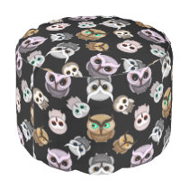 Fun Owl Pattern on Black Background Pouf