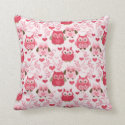 Fun Owl Pattern Throw Pillow