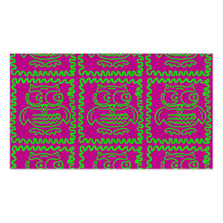 Fun Owls Patchwork Quilt Squares Purple Lime Green Business Card