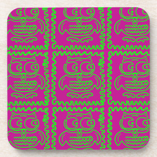 Fun Owls Patchwork Quilt Squares Purple Lime Green Coaster