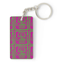Fun Owls Patchwork Quilt Squares Purple Lime Green Keychain