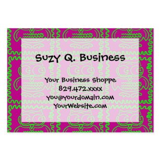 Fun Owls Patchwork Quilt Squares Purple Lime Green Large Business Card