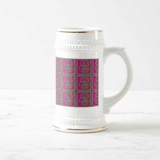 Fun Owls Patchwork Quilt Squares Purple Lime Green Coffee Mugs