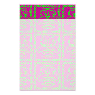Fun Owls Patchwork Quilt Squares Purple Lime Green Personalized Stationery
