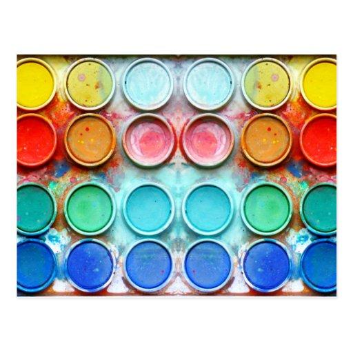 Fun paint color box postcard