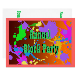 Fun paint splatter, Block Party Invitation