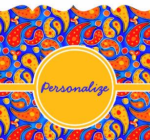c07c616797a5 Fun Paisley Orange Red Yellow on Bright Royal Blue Drawstring Bag