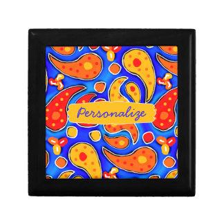Fun Paisley Orange Red Yellow on Bright Royal Blue Jewelry Box