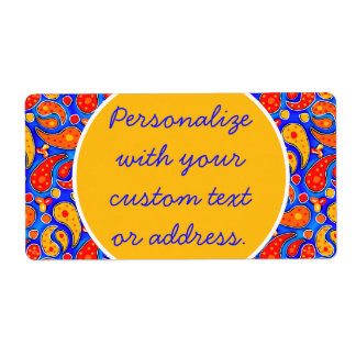 Fun Paisley Orange Red Yellow on Bright Royal Blue Shipping Label