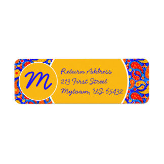 Fun Paisley Orange Red Yellow on Bright Royal Blue Return Address Label
