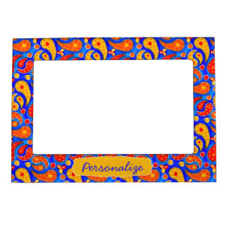Fun Paisley Orange Red Yellow on Bright Royal Blue Magnetic Photo Frame