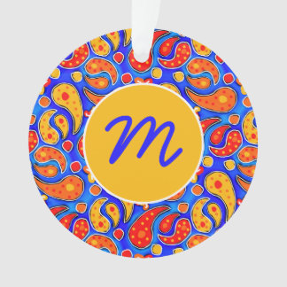 Fun Paisley Orange Red Yellow on Bright Royal Blue Ornament