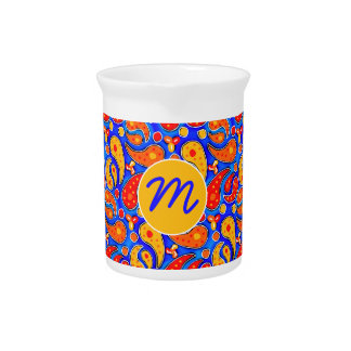 Fun Paisley Orange Red Yellow on Bright Royal Blue Drink Pitchers