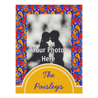 Fun Paisley Orange Red Yellow on Bright Royal Blue Poster