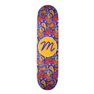 Fun Paisley Orange Red Yellow on Bright Royal Blue Skateboard Deck