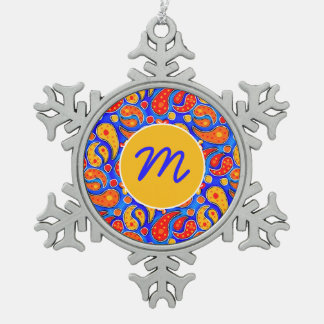 Fun Paisley Orange Red Yellow on Bright Royal Blue Snowflake Pewter Christmas Ornament