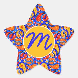 Fun Paisley Orange Red Yellow on Bright Royal Blue Star Sticker
