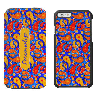 Fun Paisley Orange Red Yellow on Bright Royal Blue Incipio Watson™ iPhone 6 Wallet Case