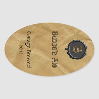 Fun Paper Bag Look Beer Label Oval Stickers