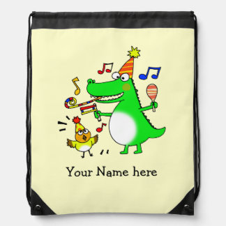 fun party animals - just add name drawstring bags