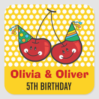 Fun Party Cherries Twins Birthday Party Sticker