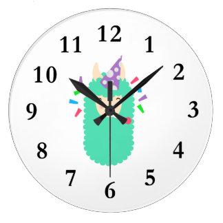Fun Party Emoji Llama Large Clock
